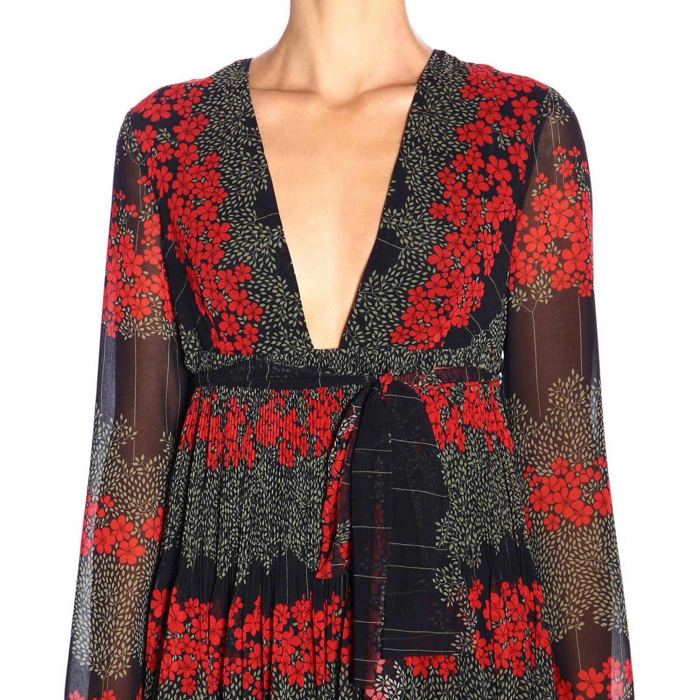 Vestido largo Red Valentino con estampado floral y detalle en la cintura negro 4