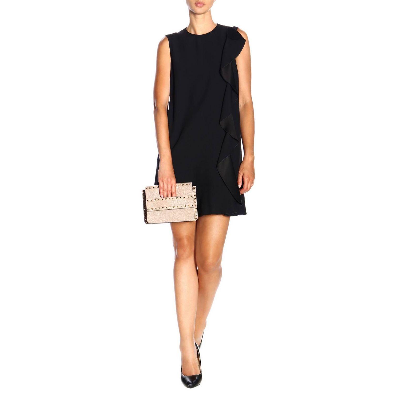 Ärmelloses Red Valentino-Kleid mit Rüschen schwarz 2