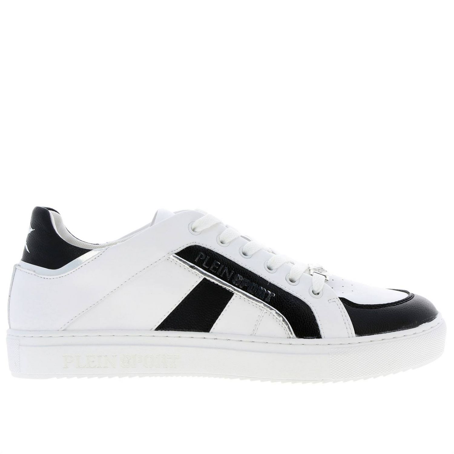 Lo-top Sneakers Cross Tiger Plein Sport in bicolor leather with logo white 1