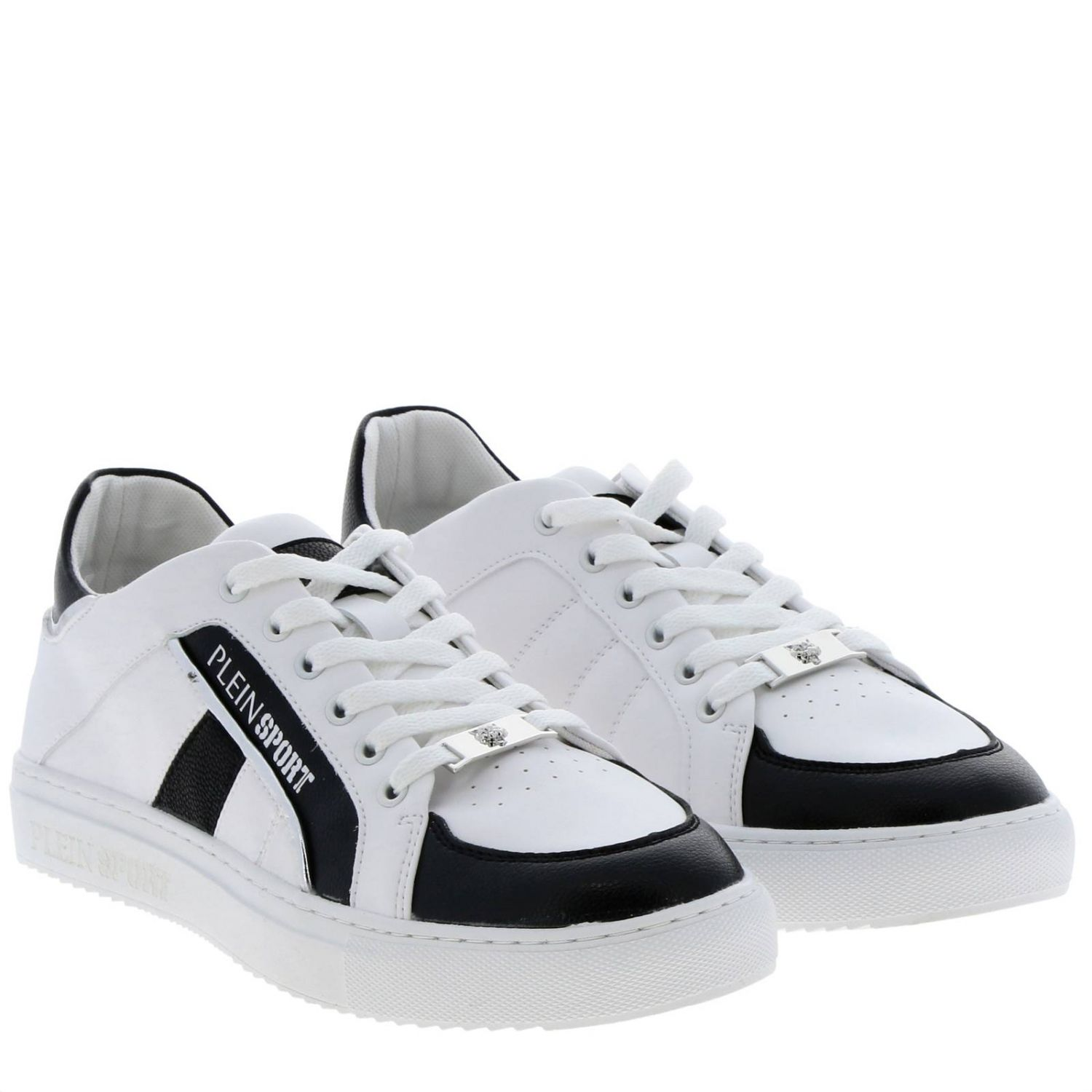 Lo-top Sneakers Cross Tiger Plein Sport in bicolor leather with logo white 2