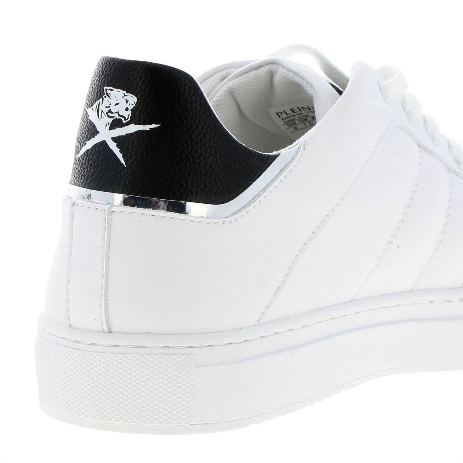 Lo-top Sneakers Cross Tiger Plein Sport in bicolor leather with logo white 4
