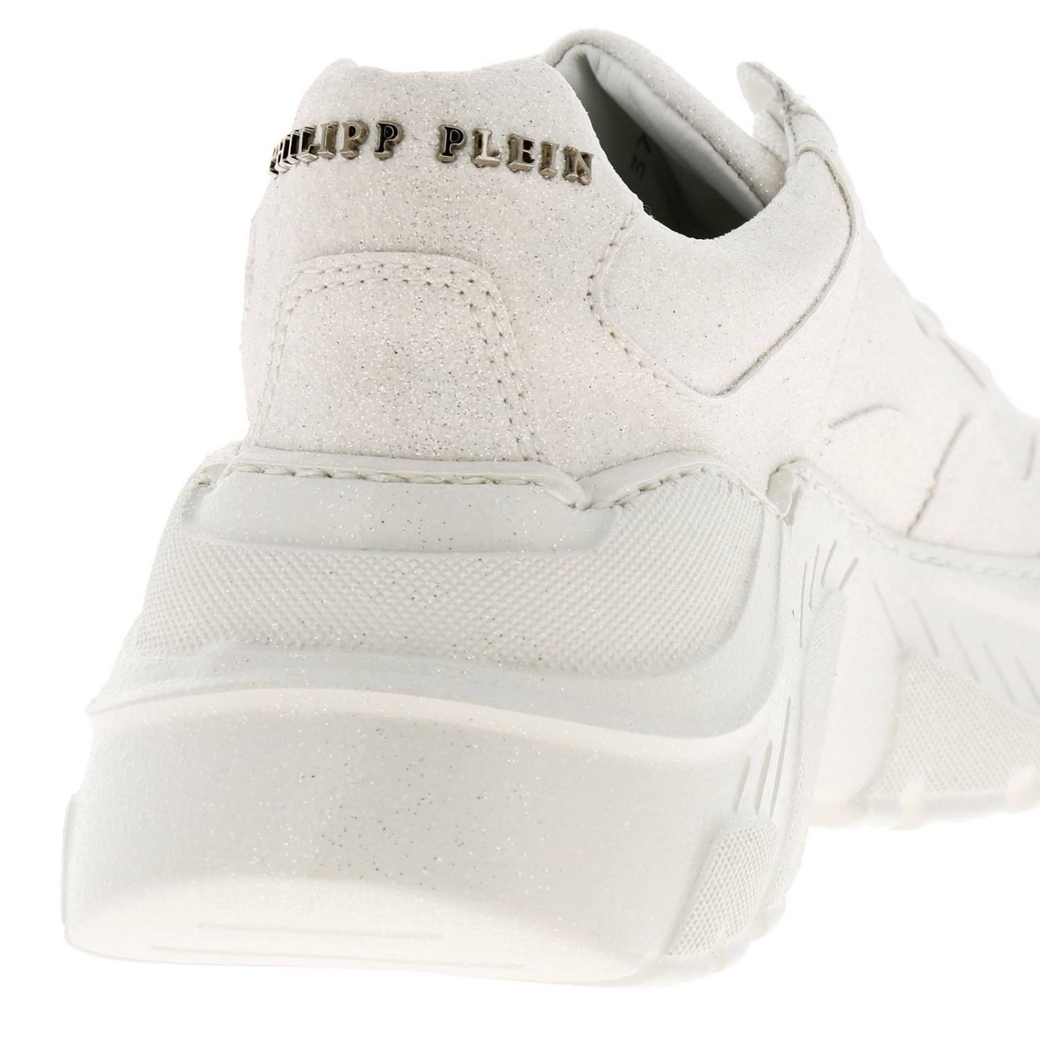 Crystal Philipp Plein Runner sneakers in glitter fabric with logo white 4