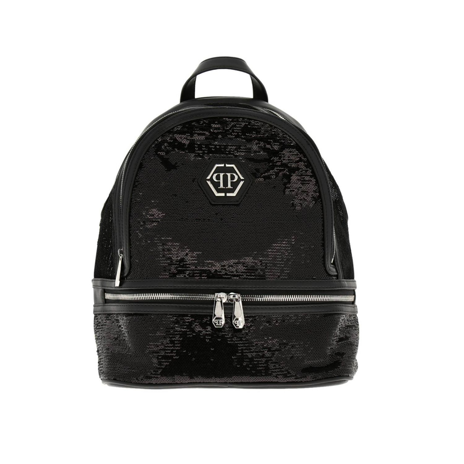 Philipp Plein backpack in leather and sequins with hexagonal monogram and zip black 1