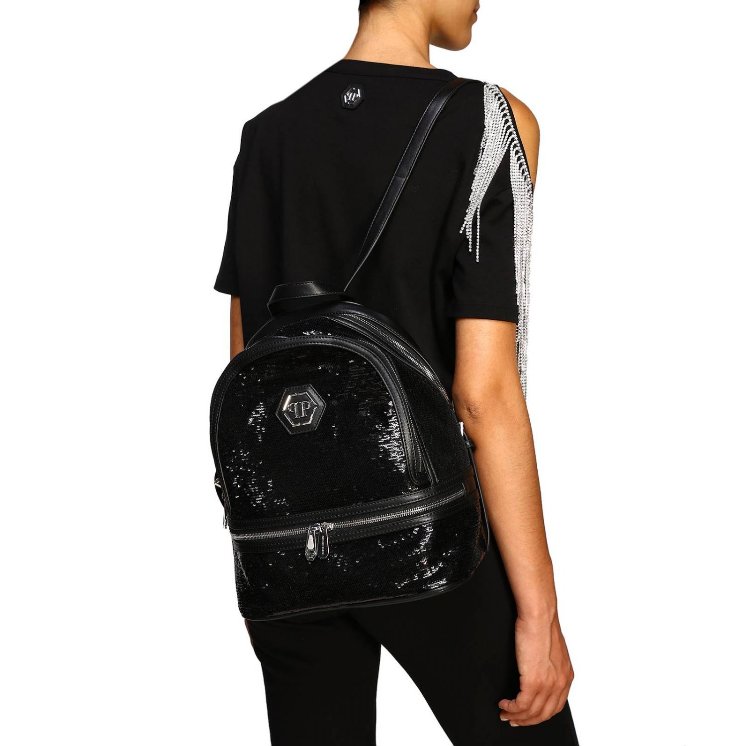 Philipp Plein backpack in leather and sequins with hexagonal monogram and zip black 2