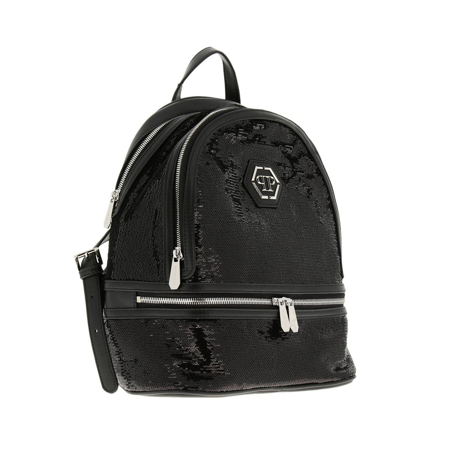 Philipp Plein backpack in leather and sequins with hexagonal monogram and zip black 3