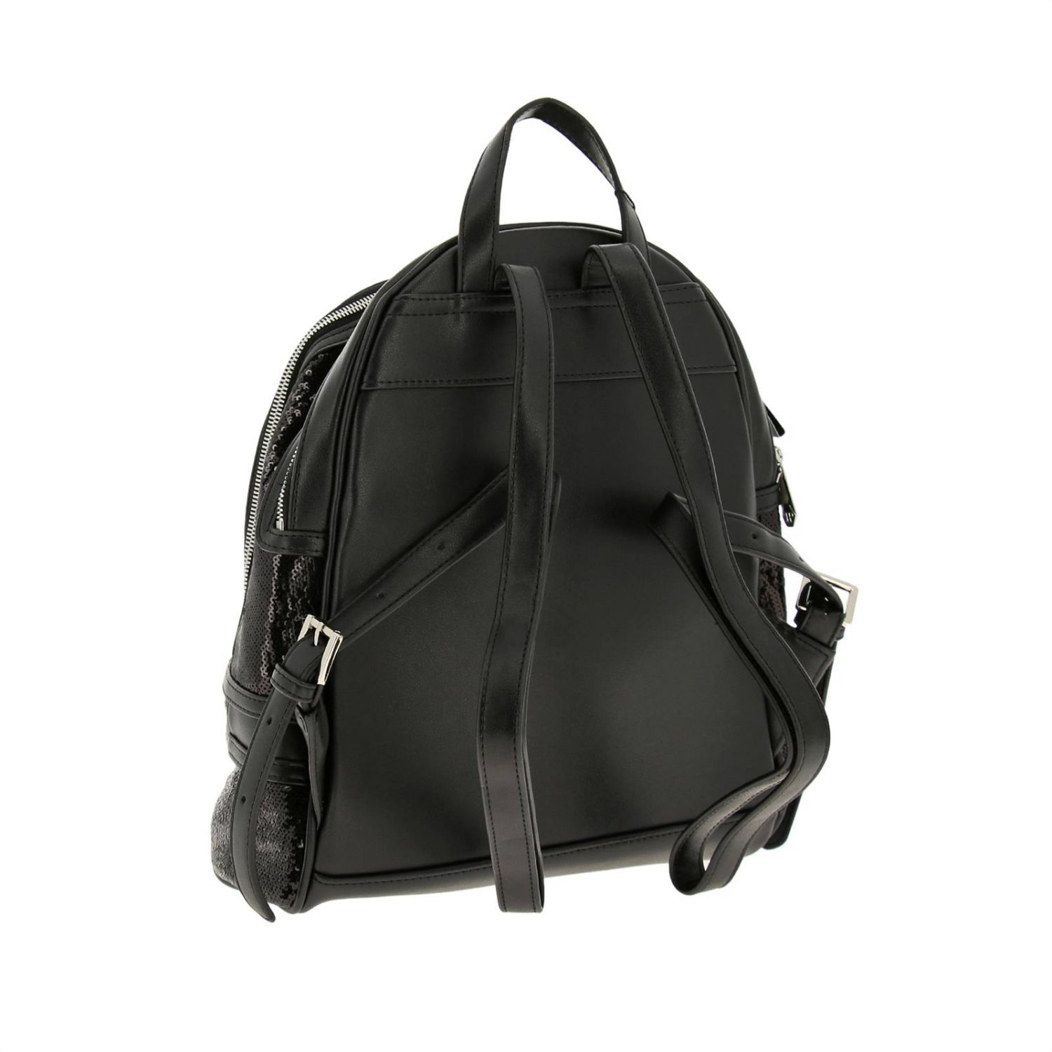 Philipp Plein backpack in leather and sequins with hexagonal monogram and zip black 4