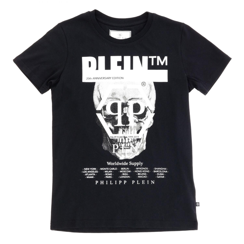 Philipp Plein T-shirt with round neck and maxi rhinestone skull black 1