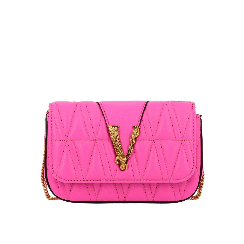 Mini bolso Versace: Bolso de hombro mujer Versace fucsia 1