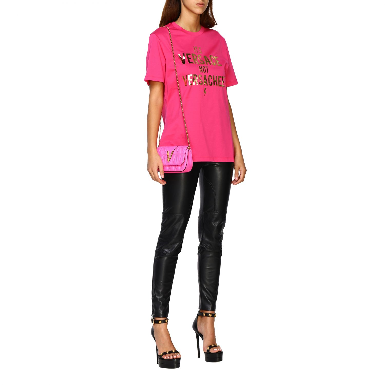 Mini bolso Versace: Bolso de hombro mujer Versace fucsia 2
