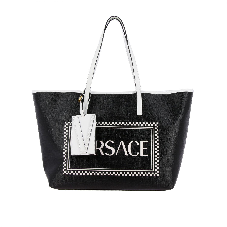 Borsa shopping Versace 90s vintage in pelle con stampa logo nero 1