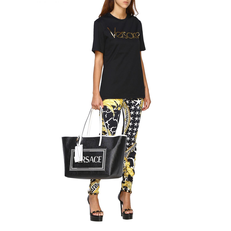 Borsa shopping Versace 90s vintage in pelle con stampa logo nero 2