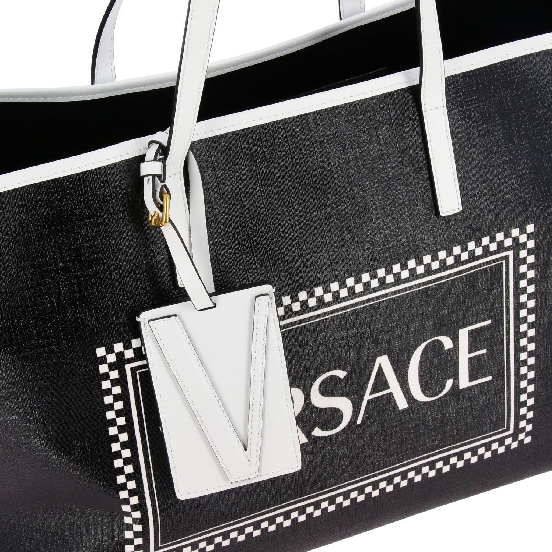 Borsa shopping Versace 90s vintage in pelle con stampa logo nero 4