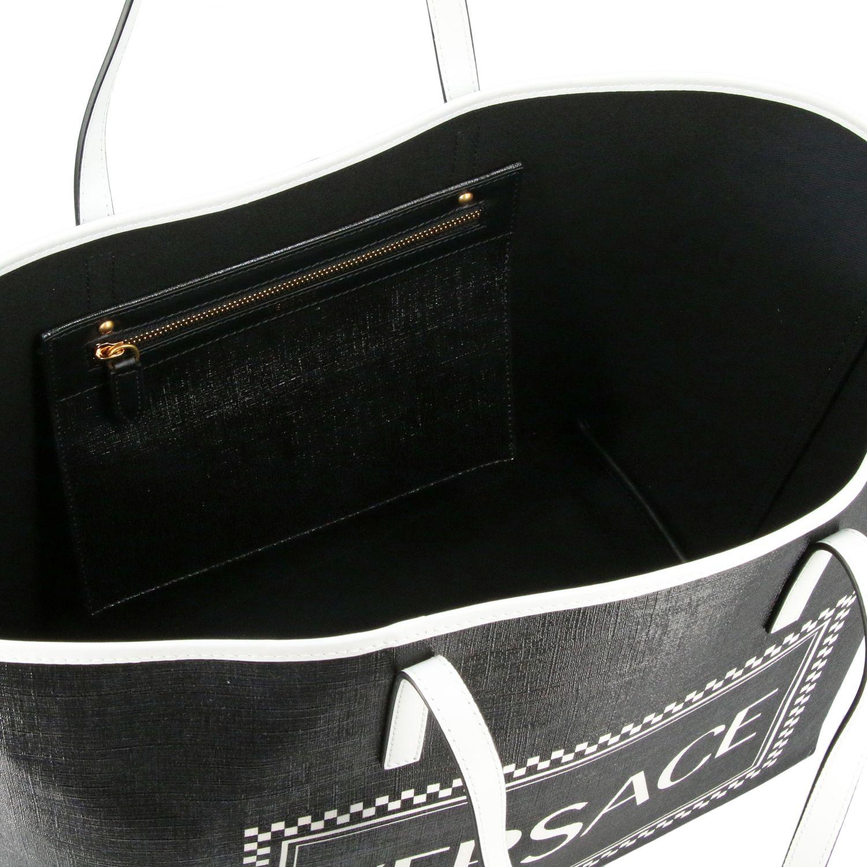 Borsa shopping Versace 90s vintage in pelle con stampa logo nero 5