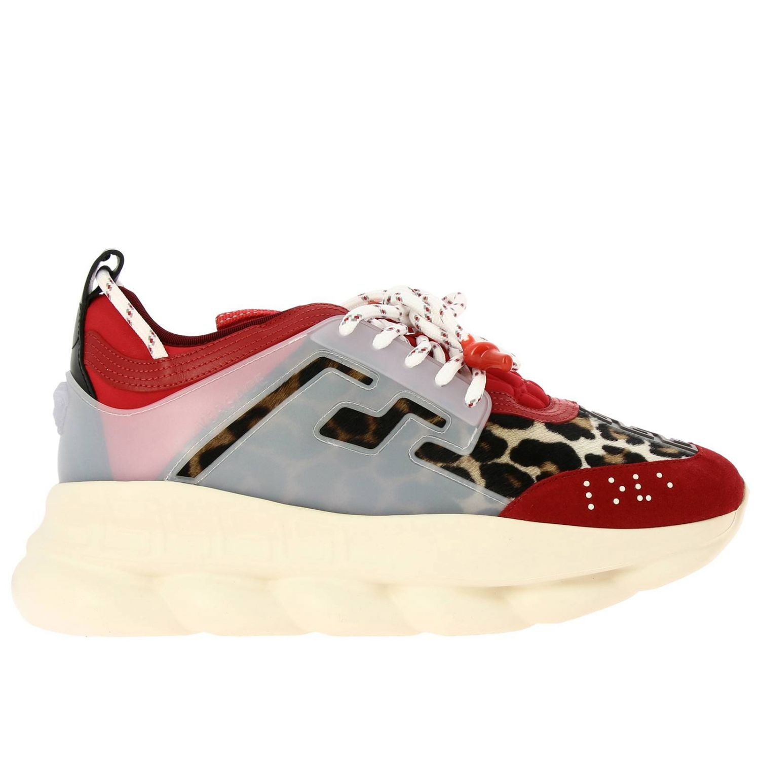 Trainers Versace: Versace Chain Reaction sneakers in neoprene and spotted fabric red 1