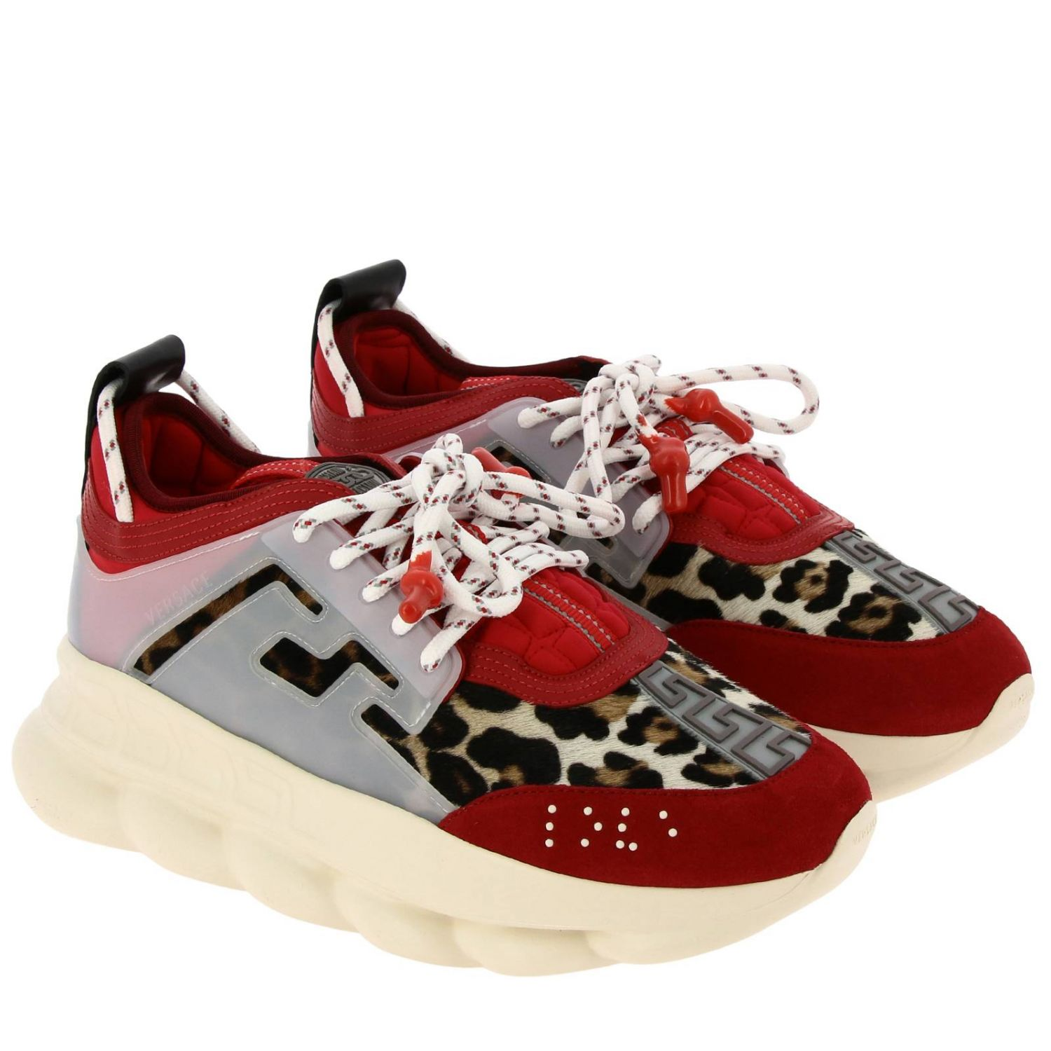 Trainers Versace: Versace Chain Reaction sneakers in neoprene and spotted fabric red 2