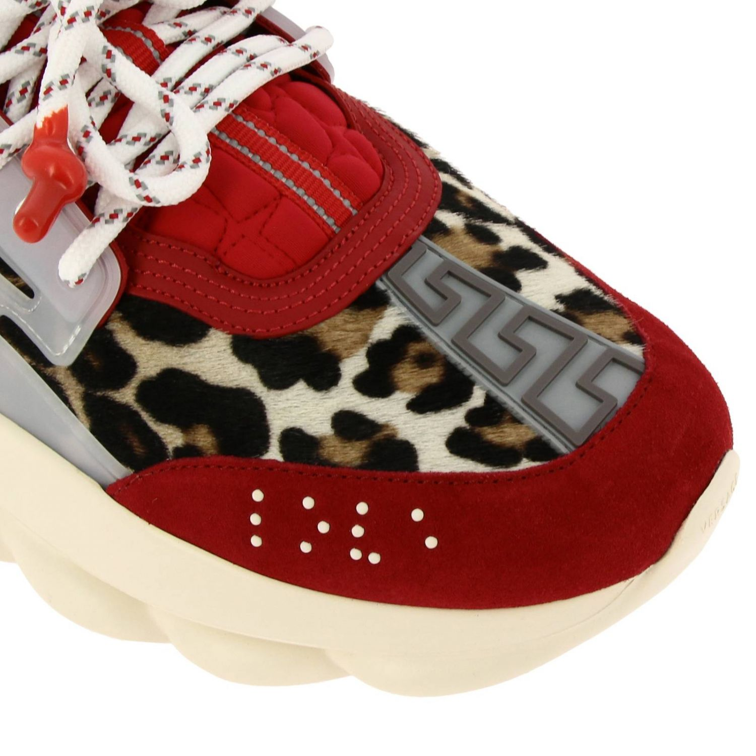 Trainers Versace: Versace Chain Reaction sneakers in neoprene and spotted fabric red 3