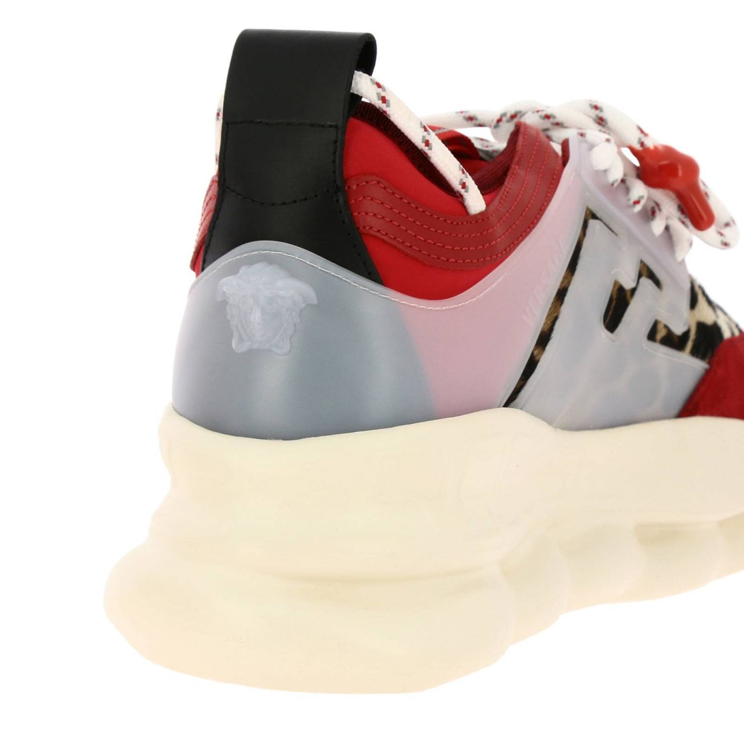 Trainers Versace: Versace Chain Reaction sneakers in neoprene and spotted fabric red 4