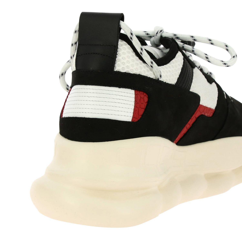 Baskets Chain reaction Versace en cuir daim et macro filet matelassée noir 4