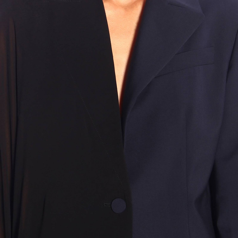 Cappa Sonia Rykiel asimmetrica e destrutturata in crêpe e frange blue navy 4
