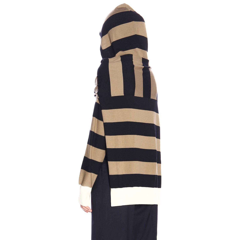 Maglia Sonia Rykiel a righe con finta doppia maglia e cappuccio tortora 3