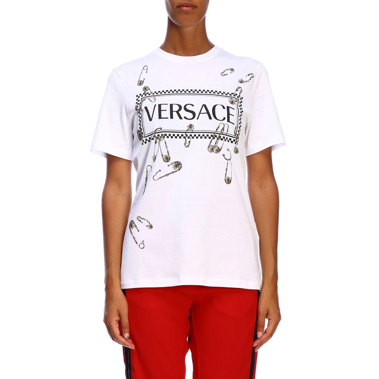 T-shirt Versace a maniche corte con maxi stampa logo e spille bianco 1