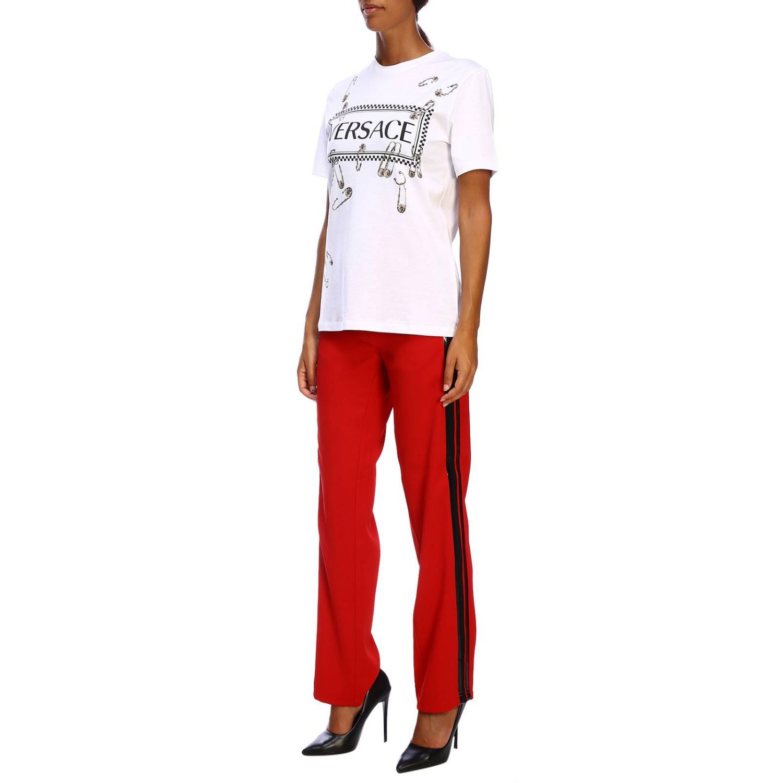 T-shirt Versace a maniche corte con maxi stampa logo e spille bianco 2