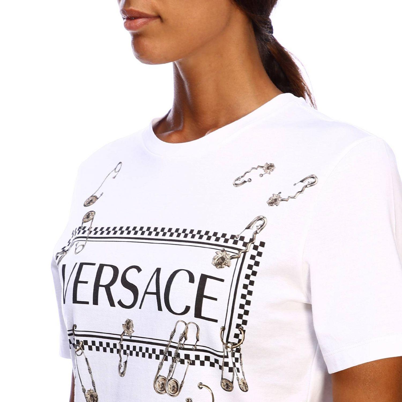 T-shirt Versace a maniche corte con maxi stampa logo e spille bianco 4