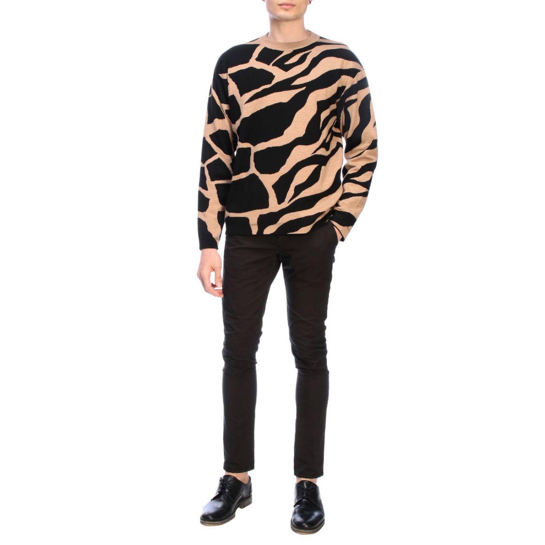 Maglia Roberto Cavalli a girocollo con fantasia giraffa beige 2