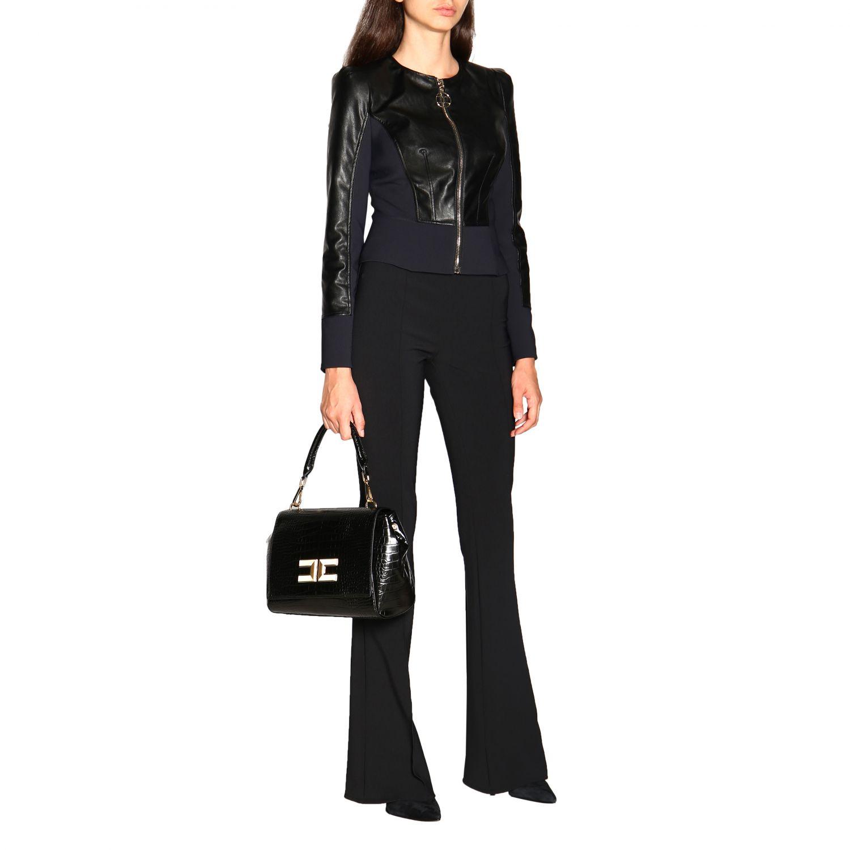 Elisabetta Franchi Jacke mit Rundhalsausschnitt aus ökologischem Leder schwarz 2