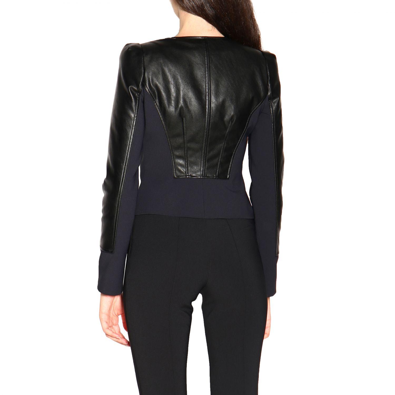 Elisabetta Franchi Jacke mit Rundhalsausschnitt aus ökologischem Leder schwarz 3
