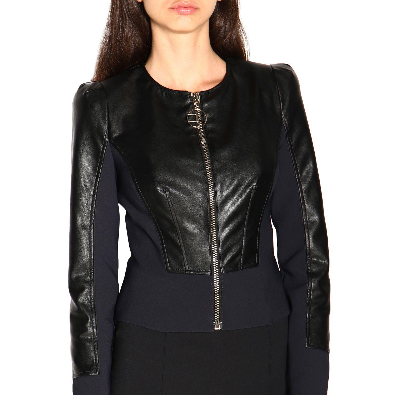 Elisabetta Franchi Jacke mit Rundhalsausschnitt aus ökologischem Leder schwarz 5