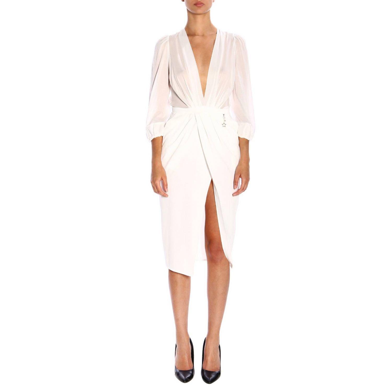 Elisabetta Franchi裙部开叉连衣裙 白色 1