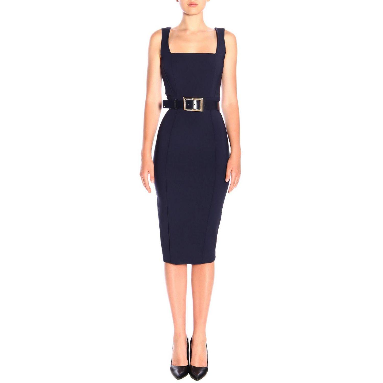 Elisabetta Franchi腰带修身型铅笔连衣裙 蓝色 1