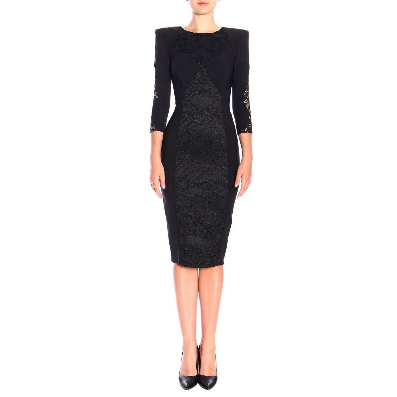 Kleid Elisabetta Franchi: Elisabetta Franchi Kleid mit Spitzendetails schwarz 1