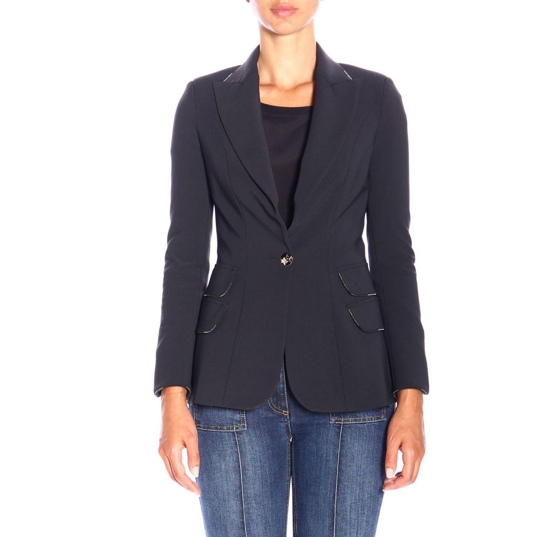Single-button jacket in stretch fabric by Elisabetta Franchi black 1