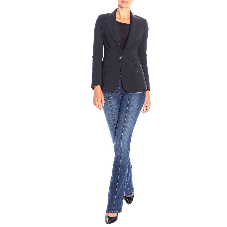 Single-button jacket in stretch fabric by Elisabetta Franchi black 2