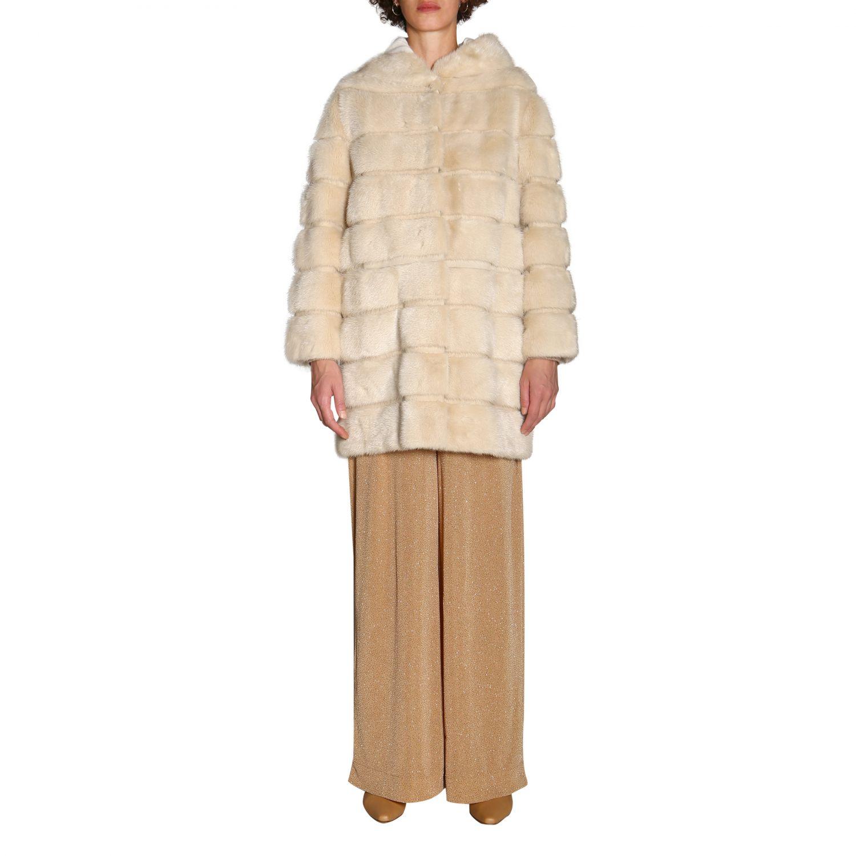Fur coats women Simonetta Ravizza beige 1