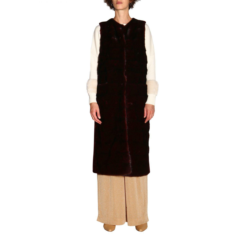 Fur coats women Simonetta Ravizza burgundy 1