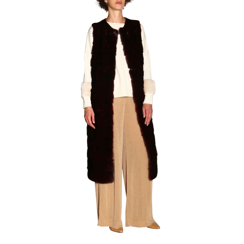 Fur coats women Simonetta Ravizza burgundy 2