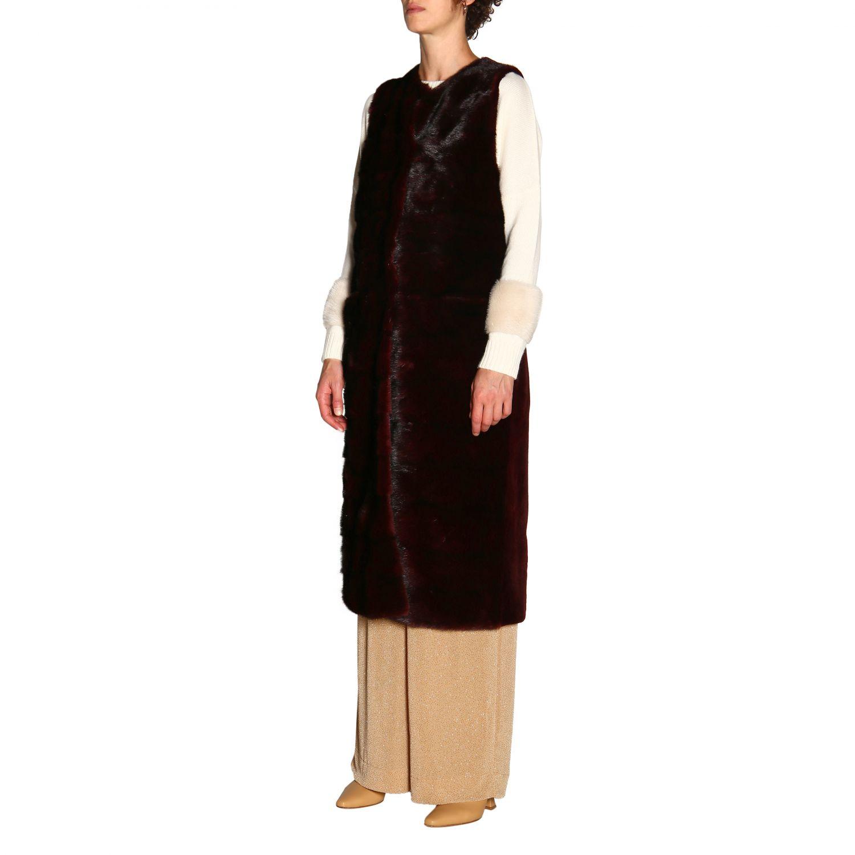Fur coats women Simonetta Ravizza burgundy 4