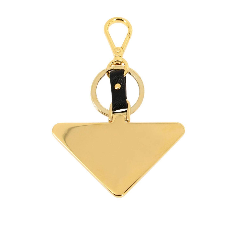 Prada 金属三角logo和saffiano真皮钥匙扣 黑色 2
