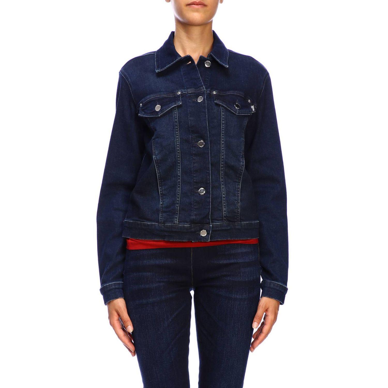 Giacca di jeans Love Moschino con maxi logo di strass denim 1