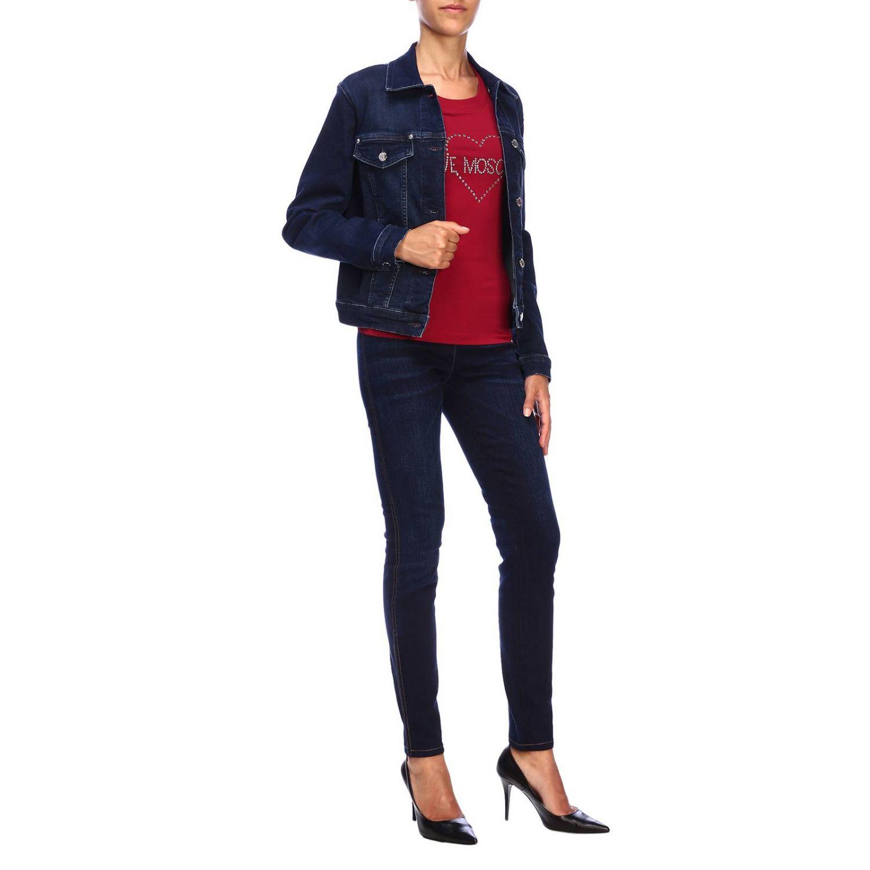Giacca di jeans Love Moschino con maxi logo di strass denim 2