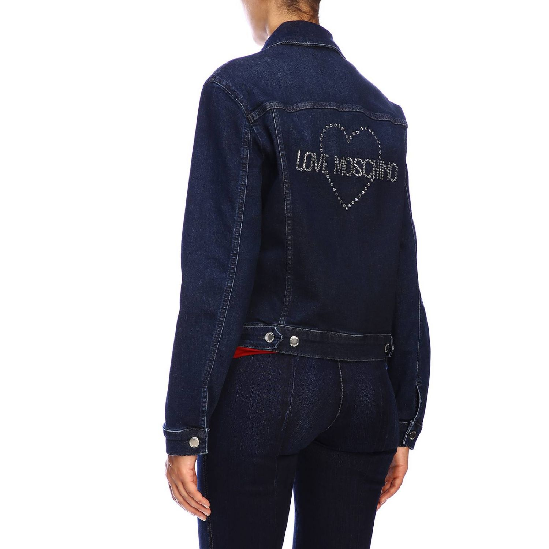 Giacca di jeans Love Moschino con maxi logo di strass denim 3