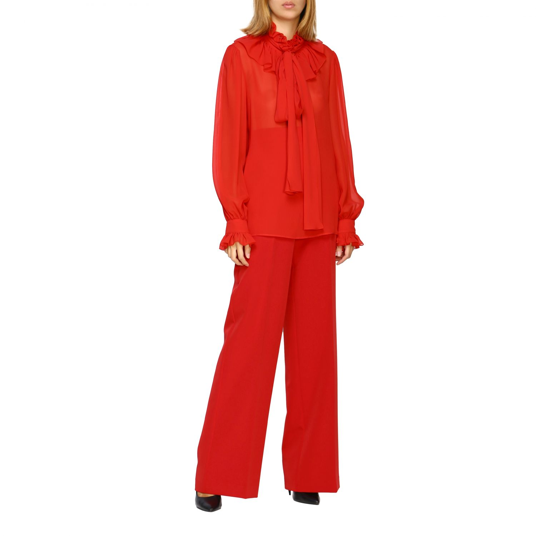 Pantalone Blumarine ampio in cady rosso 2