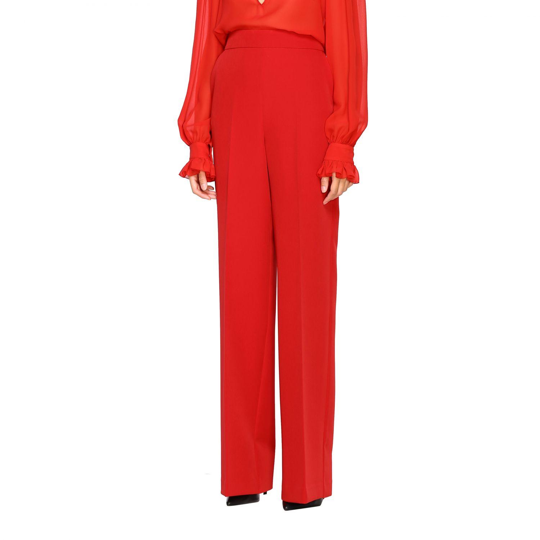 Pantalone Blumarine ampio in cady rosso 4