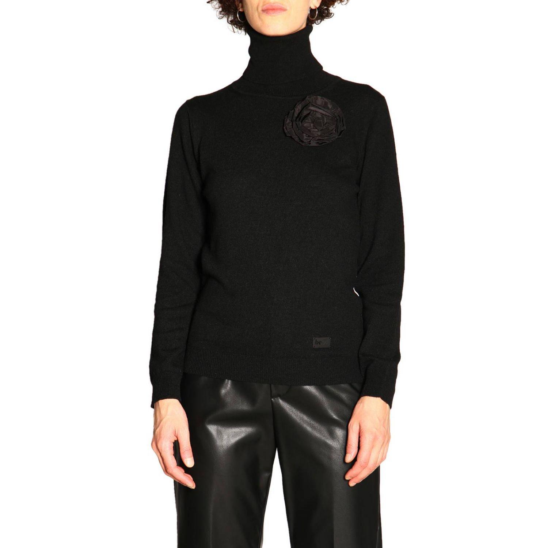 Maglia Be Blumarine in lana e cashmere a collo alto con applicazione floreale nero 1