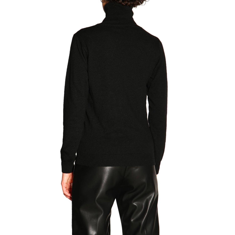 Maglia Be Blumarine in lana e cashmere a collo alto con applicazione floreale nero 3