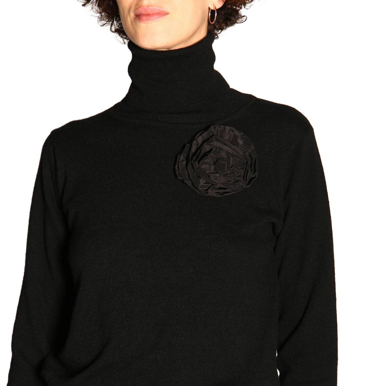 Maglia Be Blumarine in lana e cashmere a collo alto con applicazione floreale nero 5