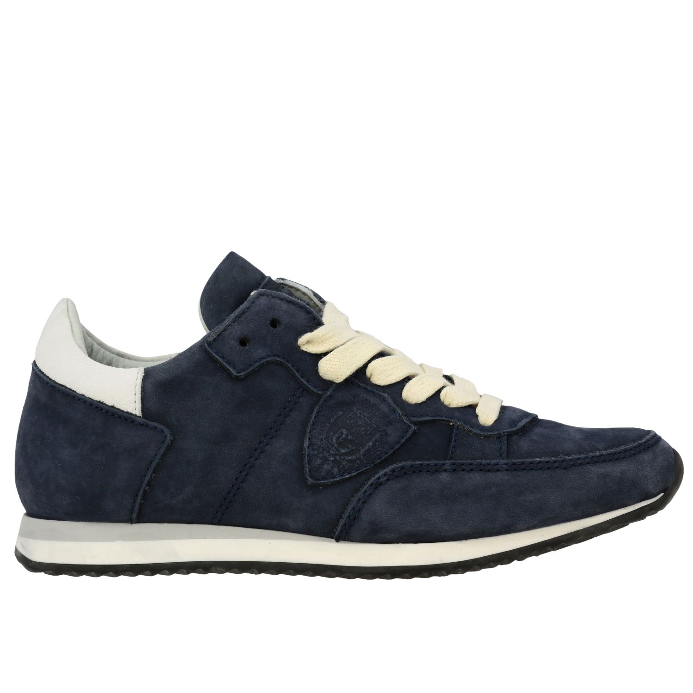 Sneakers Tropez Philippe Model stringata in nabuk blue navy 1